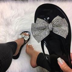 De mujer PVC Tacón plano Sandalias Encaje con Rhinestone Lentejuelas zapatos