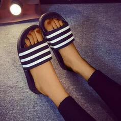 De mujer PVC Tacón plano Sandalias Encaje Pantuflas zapatos