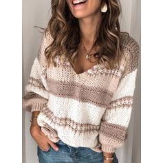 Bloque de Color Punto Grueso Cuello en V Casuales Suéteres