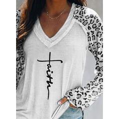 Stampa leopardo Figura Scollatura a V Maniche lunghe Casuale Maglietta