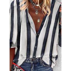 Prążki Dekolt w kształcie litery V Rękaw 3/4 Casual Bluski koszulowe