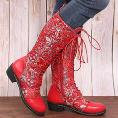 Women's PU Chunky Heel Boots Martin Boots With Lace-up Embroidery shoes