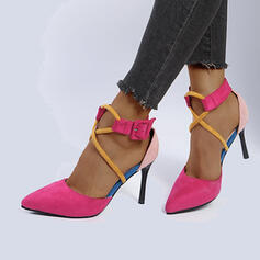 Women's Suede Stiletto Heel Sandals Pointed Toe With Buckle Patchwork Splice Color shoes