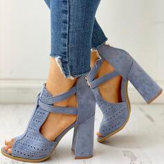 De mujer Ante Tacón ancho Sandalias Encaje con Hebilla Agujereado zapatos