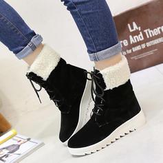 De mujer Ante Tacón plano Planos Cerrados Botas Botas longitud media Botas de nieve con Cordones zapatos