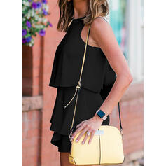 Solid Sleeveless Little Black/Casual/Elegant Rompers Dresses