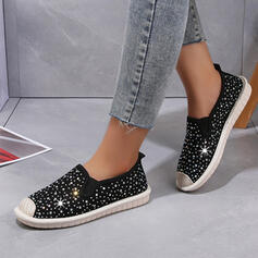 De mujer Lona Rhinestone Tacón plano Planos Top bajo Ponerse con Rhinestone Lentejuelas Color sólido zapatos