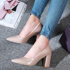De mujer Piel brillante Tacón ancho Salón Cerrados zapatos
