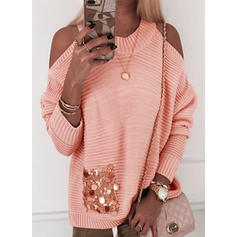 Sequins Cold Shoulder Long Sleeves Casual Knit Blouses