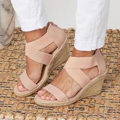 De mujer PU Tipo de tacón Sandalias Plataforma Encaje con Color sólido zapatos