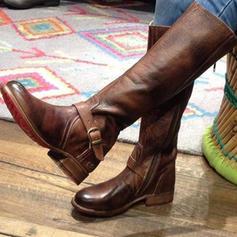 De mujer PU Tacón bajo Botas Botas a la rodilla con Cremallera zapatos
