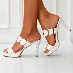 De mujer PU Tacón stilettos Salón Encaje Pantuflas Tacones con Rhinestone zapatos