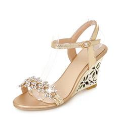 Dla kobiet PU Obcas Koturnowy Sandały Czólenka Koturny Otwarty Nosek Buta Bez Pięty Z Stras/ Krysztal Górski obuwie