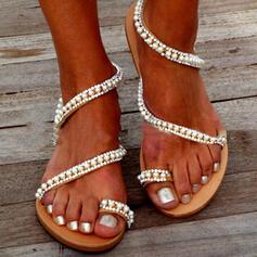 Dámské PVC Placatý podpatek Sandály Boty Bez Podpatku Prst prst S Napodobenina drahokamu Imitace perly Vydlabaný obuv