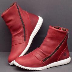 Vrouwen PU Flat Heel Enkel Laarzen Ronde neus met Rits Effen kleur schoenen