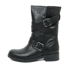 Pentru Femei PU Toc gros Cizme până la jumătatea gambei cu Cataramă Fermoar pantofi