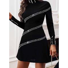 スパンコール/固体/ビーズ 長袖 シースドレス 膝上 カジュアル ドレス