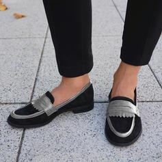 Dámské Semiš Placatý podpatek Boty Bez Podpatku Mokasíny Hodit na sebe S Splice Color obuv