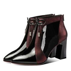 Mulheres PU Salto agulha Salto robusto Bota no tornozelo com Aplicação de renda sapatos