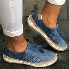 Dámské PU Placatý podpatek Boty Bez Podpatku Nízká horní Kolem špičky S Vydlabaný Tassel Solid Color obuv