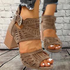 PU Χοντρό φτέρνα Σανδάλια Ανοιχτά σανδάλια toe Με Πόρπη Κουκούλα-έξω παπούτσια