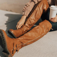 Donna Similpelle Tacco basso Stivali sopra il ginocchio Stivali da equitazione Punta rotonda con Fibbia Increspato Cerniera Colore solido scarpe