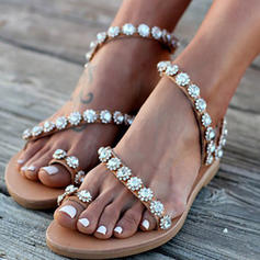 Pentru Femei PU Fară Toc Sandale Balerini cu Floare pantofi