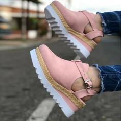 Dla kobiet Zamsz Obcas Koturnowy Czólenka Zakryte Palce Koturny Bez Pięty Z Klamra obuwie