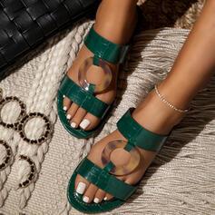 De mujer PU Tacón plano Sandalias Encaje Pantuflas con Agujereado zapatos