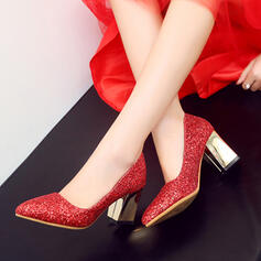De mujer Brillo Chispeante Tacón ancho Salón Cerrados zapatos