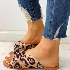 De mujer Seda Tacón plano Sandalias Encaje Pantuflas con Estampado de animales zapatos