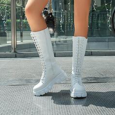 Pentru Femei PU Toc jos Toc gros Cizme Cizme până la genunchi Top sus cu Lace-up Culoare solida pantofi