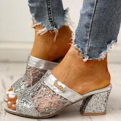 De mujer Malla Tacón ancho Sandalias Encaje Pantuflas con Lentejuelas Agujereado zapatos