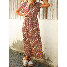 Print Short Sleeves A-line Casual/Vacation Maxi Dresses