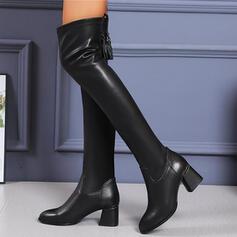 De mujer PU Tacón ancho Botas con Cremallera Borla Color sólido zapatos