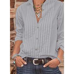Solido Risvolto Maniche lunghe Bottone Casuale Shirt and Blouses