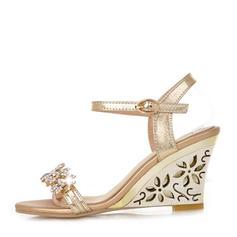 Mulheres PU Plataforma Sandálias Bombas Calços Peep toe Sapatos abertos com Strass sapatos