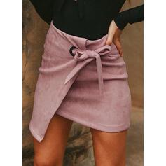 Polyester Jednobarevný Mini Sukně Na Tělo Asymetrické