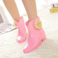Donna PVC Tacco basso Stivali Stivali altezza media Stivali da pioggia con Fiore scarpe
