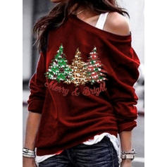 Print One-Shoulder Long Sleeves Casual Christmas Blouses
