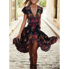 Print/Floral Short Sleeves A-line Skater Boho/Vacation Maxi Dresses