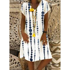 Print Short Sleeves Shift Knee Length Casual/Vacation Tunic Dresses