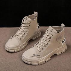 Donna Similpelle Tacco basso Stivali alla caviglia Punta rotonda con Colore solido scarpe