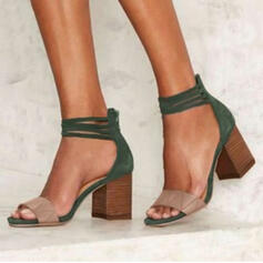Women's PU Chunky Heel Sandals Pumps Peep Toe With Splice Color shoes