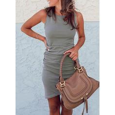 Solid Sleeveless Bodycon Asymmetrical Casual Tank Dresses