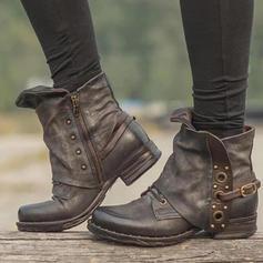 De mujer PU Tacón bajo Botas con Cremallera zapatos