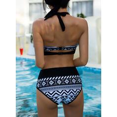 Hög Midja Grimma Vintage Extra stor storlek bikini Badkläder