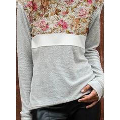 Stampa Blocchi di colore Floreale Girocollo Maniche lunghe Casuale Camicie