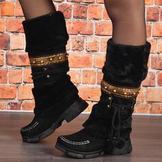 Donna PU Tacco spesso Stivali da neve Punta rotonda Stivali invernali con Allacciato Colore giuntura scarpe