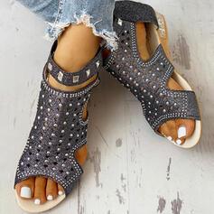 Women's PU Low Heel Sandals Flats Peep Toe With Rhinestone Rivet shoes